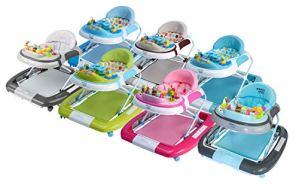Ib style® 3 en 1 Babywalker | Trotteur | Marcheur | Balançoire | Son & Lumière | EN1273:2005 | Turquoise-Gris …