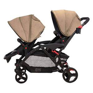LMCLJJ Double Enfant Poussette, Double siège Pliable Tandem Poussette avec Dossier réglable, poignée de poussée et Repose-Pieds, Roues verrouillables (Color : Beige)
