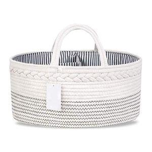 Organiseur de couches, panier de rangement ovale en corde de coton portable à langer pour maman, nouveau-né et enfants