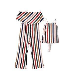 Viewk Cadeau Mother and Me Women Stripes Combinaisons Imprimer sans Manches Famille Correspondant vêtements