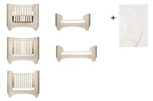White Wash Leander Ensemble drap-housse et drap housse pour bébé et enfant + 1 set (2 pièces) Taille bébé