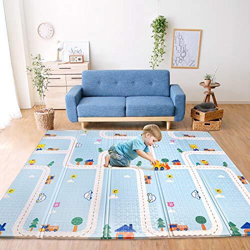 Bammax Tapis de jeu pour bébé, tapis de jeu en mousse pour jeu de sol pour bébé, tapis de bébé pliable grand tapis de bébé épais et doux, imperméable réversible sans toxique, 177 * 197 * 1 cm