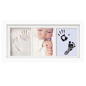 Cadre photo d'argile d'empreinte de main de bébé,Kits de moulage et d'empreintes, cadre en bois et verre acrylique, cadeau de kits de moulage et d'impression pour baptême de bébé, Meilo(white-3318)