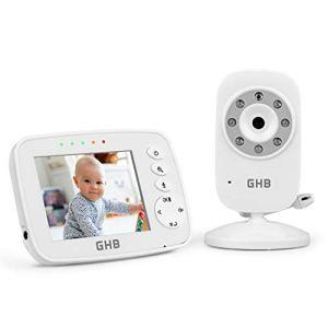 GHB Bébé Moniteur Babyphone Caméra 3,2 Inches LCD Zoom 2 Fois Supporte 4 Caméras Vidéo Bébé Surveillance 2,4 GHz Capteur de Température Communication Bidirectionnelle Vision Nocturne
