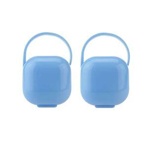 HEALLILY Porte-sucette Boîte Portable Boîte Sucette 2 Pièces (Bleu)