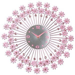 Horloge de salon européenne pendaison muette table chambre horloge personnalisée (Couleur : Rose)