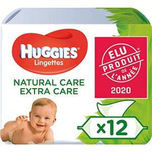 Huggies Lingettes pour bébé, Natural Care Extra Care, 3 Paquets (168 Lingettes au total)
