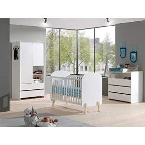 Lit bébé 60×120 Sommier Inclus, Commode 3 tiroirs, Plan à langer et Armoire 2 portes Kiddy – Blanc
