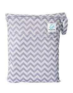 Maman et bb Nature – Sac imperméable pour couches lavables 2 poches anse à pression – Chevron Gris