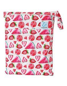 Maman et bb Nature – Sac imperméable pour couches lavables 2 poches anse à pression – Fraisy