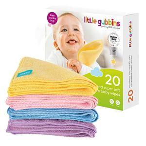 20 x Lingettes Bébé MICROFIBRES par Little Gubbins | Paquet de lingettes sèches et non-parfumées