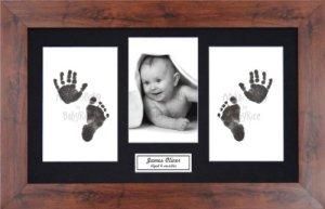 Anika-Baby BabyRice Kit empreintes de pieds et mains de bébé avec impression noire sans encre/cadre effet acajou avec support noir
