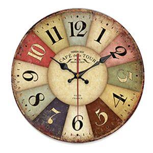 Chaick Moderne Pendules Murales Et Horloges DéCoratif Fois RéTro Batterie Ronde 30/34/40/50cm,V,30CM