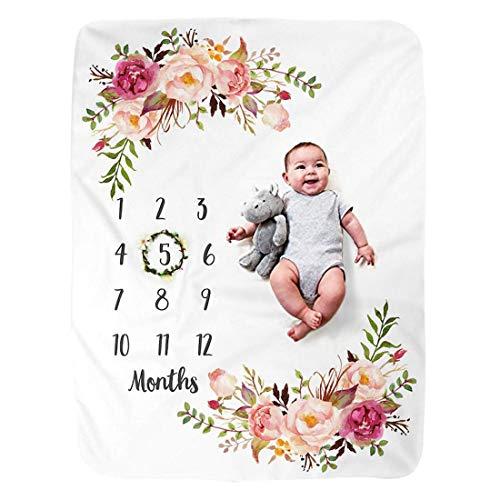 JMITHA Couverture pour bébé Motif jalon mensuel 100 x 130 cm