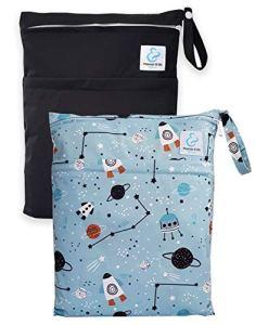 Maman et bb Nature – Lot 2 Sacs imperméables pour couches lavables 2 poches – Cosmos