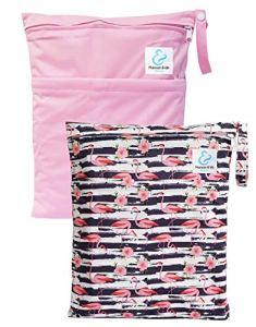 Maman et bb Nature – Lot 2 Sacs imperméables pour couches lavables 2 poches – Flamingo