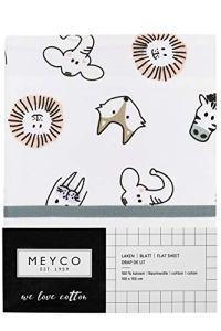 Meyco 433065 Drap Plat avec Bord relevé Animal 100 % Coton Multicolore 75 x 100 cm