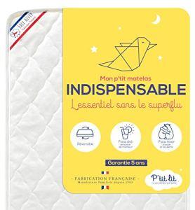 P'TIT LIT Matelas Bébé Indispensable-60×120 cm-Climatisé 1 Face Hiver-Oeko Tex-Fabrication Française, Blanc, 60 x 120