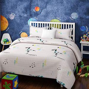 4everWithU Shandaar Enfants Coton Résumé DINAUSAURS Imprimer Blanc et Bleu Set tenture (Lit Simple) FZC # 100