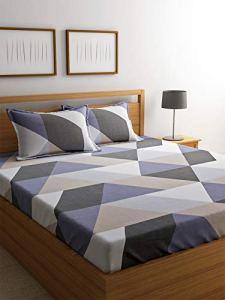 4everWithU Shandaar Mode imprimé géométrique Beige et Violet Bedsheet Set FZC # 69