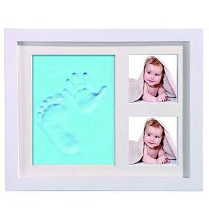 Cadre Empreintes Bébé Encre, Kit Empreinte Main Bébé avec Un Tampon Encreur Safe Empreinte pour 0 À 6 Mois Bébé Kit Empreinte Pieds Et Mains Bébé Clean Touch,Natural