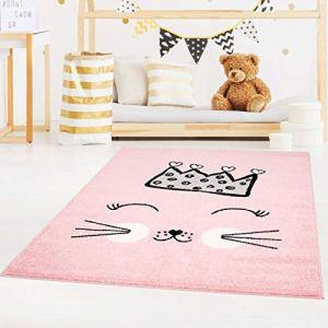 carpet city Bubble Kids Tapis à poils ras pour chambre d'enfant Motif chat et couronne Rose/vert/gris