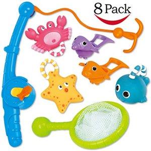 Jouet de bain, pêche flotant jouets et soucoupe d'eau avec sac d'organisation (Pack 8), Poisson filet jeu dans baignoire salle de bain piscine heure du bain pour enfants bambins bébé garcon fille