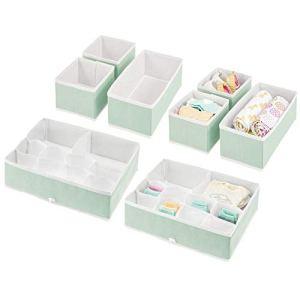 mDesign boîte de Rangement pour Chambre d'enfant (Set de 8) – bacs de Rangement élégants de différentes Tailles – Organiseur de tiroir en Fibre synthétique Respirante – Vert Menthe/Blanc