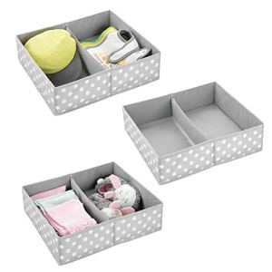 mDesign Boite de Rangement pour vêtements, Accessoires pour bébé (Lot de 3) – Boite en Tissu pour Chambre d'enfant – Module de Rangement avec 2 Compartiments – Gris