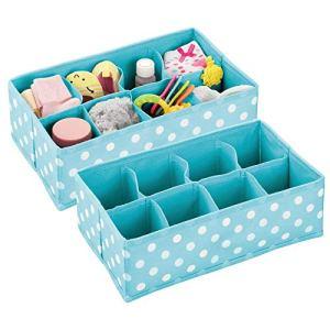 mDesign boite rangement enfant (lot de 2) – panier de rangement en polypropylène avec 8 compartiments pour chaussettes, bavoirs, etc. – aussi comme boite rangement jouet – turquoise/pois blancs
