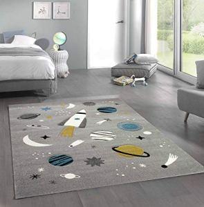 Merinos Tapis d'apprentissage pour Enfants avec Tapis étoiles et planètes en Gris Größe 120×170 cm