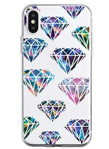 Oihxse Mode Motif de Diamant Case Compatible pour iPhone 7 Plus/iPhone 8 Plus Coque Silicone Ultra Mince Transparent Souple Bumper Crystal Clair Anti-Rayures Antichoc Protection Cover,Diamant 6
