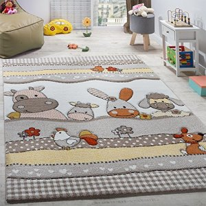 Paco Home Tapis pour Enfants Chambre d'enfant Animaux De La Ferme Rigolos Beige Gris, Dimension:140×200 cm