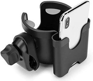 Poussette Porte-gobelet,Porte-gobelet Universel pour Poussette avec Crochets,2 en 1,pour téléphone Portable,360 degrés rotatif porte-gobelet pour fauteuils roulants marchettes de mobilité vélos