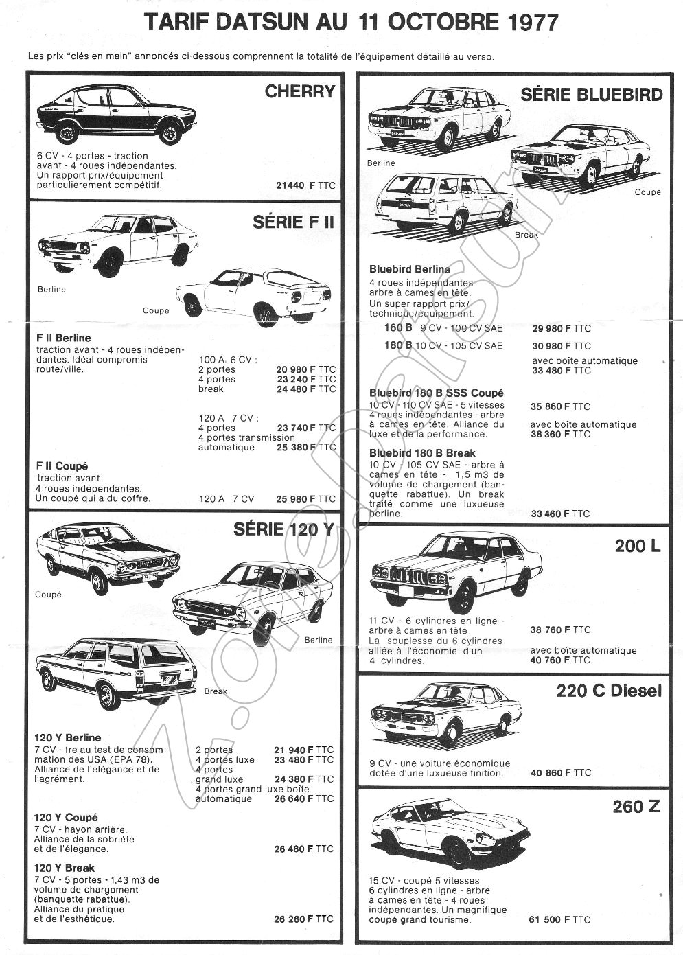 TARIF DATSUN FRANCE de 1969 – A 1984. – Z.ONE
