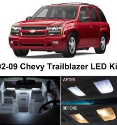 zone tech chevy trailblazer 2002 2009 white led interior lights kit 5 pieces  [ 1000 x 1000 Pixel ]