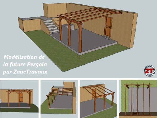 pergola dossier 2 d coupe et installation des poteaux et pannes. Black Bedroom Furniture Sets. Home Design Ideas