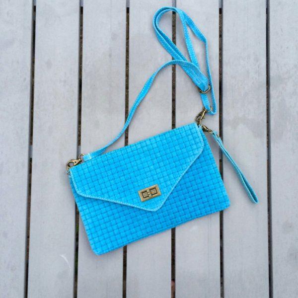 blauwe tas suede