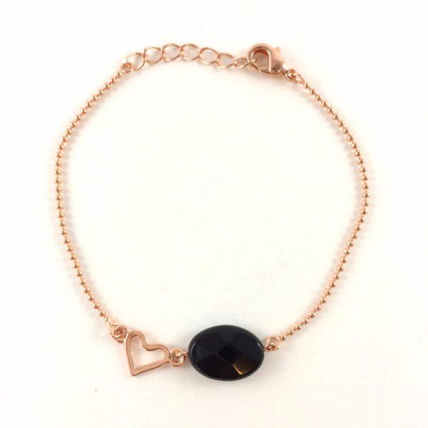 Armband met onyx ovaal rose goud