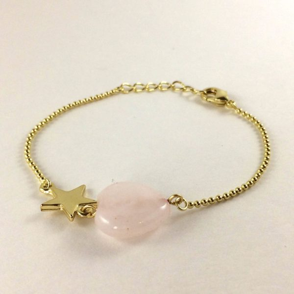 Armband met rozenkwarts hart edelsteeen armband