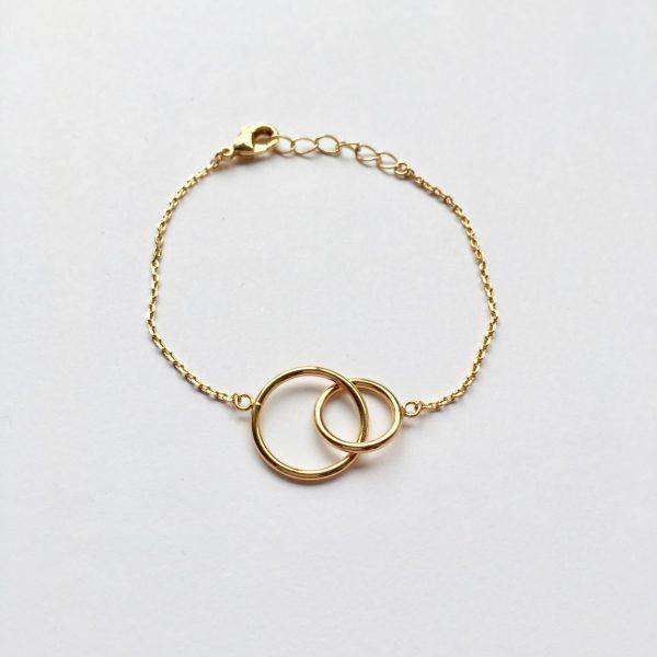 Armband met 2 rondjes goud