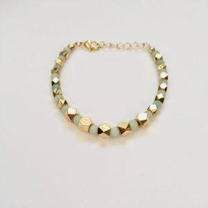 Armband met amazoniet bolletjes goud
