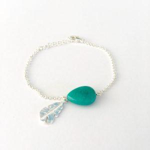 Armband met jade zilver veer bedel