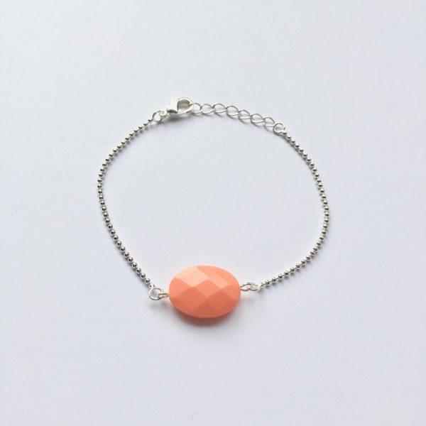 Armband met koraalrood natuursteen (zilver)