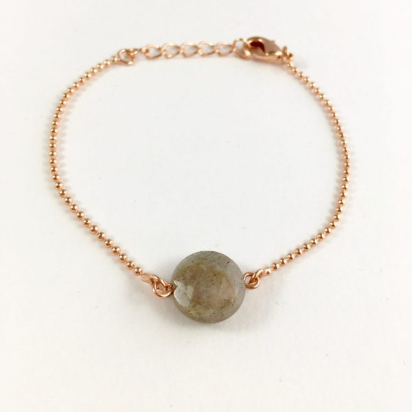 Armband met labradoriet (rose goudkleurig