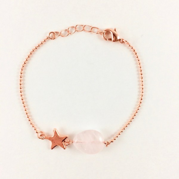 Armband-met-rozenkwarts-druppel-rose-goud