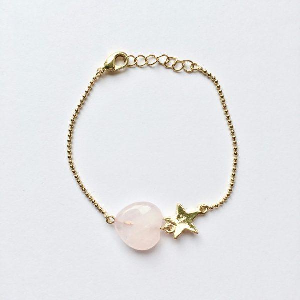 Armband met rozenkwarts hart (goud)