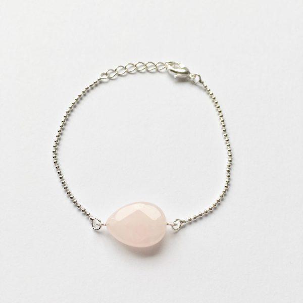 Armband met rozenkwarts zilverkleurig edelsteen armbandje