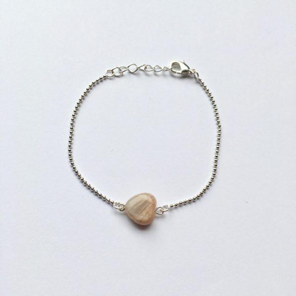 Armband met sardonyx hart zilver