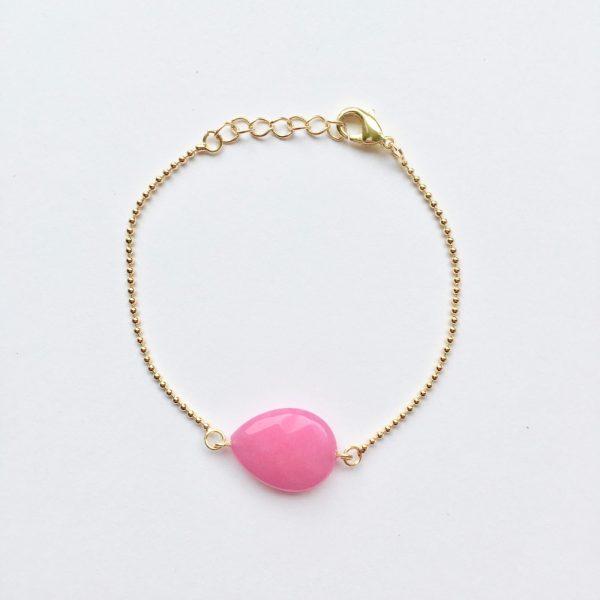 Armband met warm roze jade druppel goud